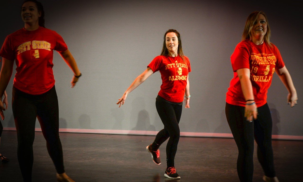 Christina Aiello, center, dances at the Bicknell Family Center for the Arts.