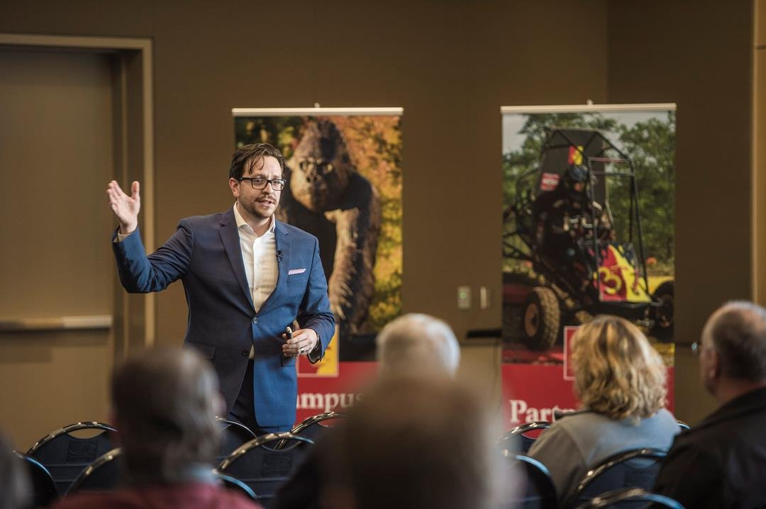 Shawn Naccarato, Pitt State's executive director of the Center for Business and Innovation Development, speaks at a recent campus forum to discuss the downtown Pittsburg Block22 project.