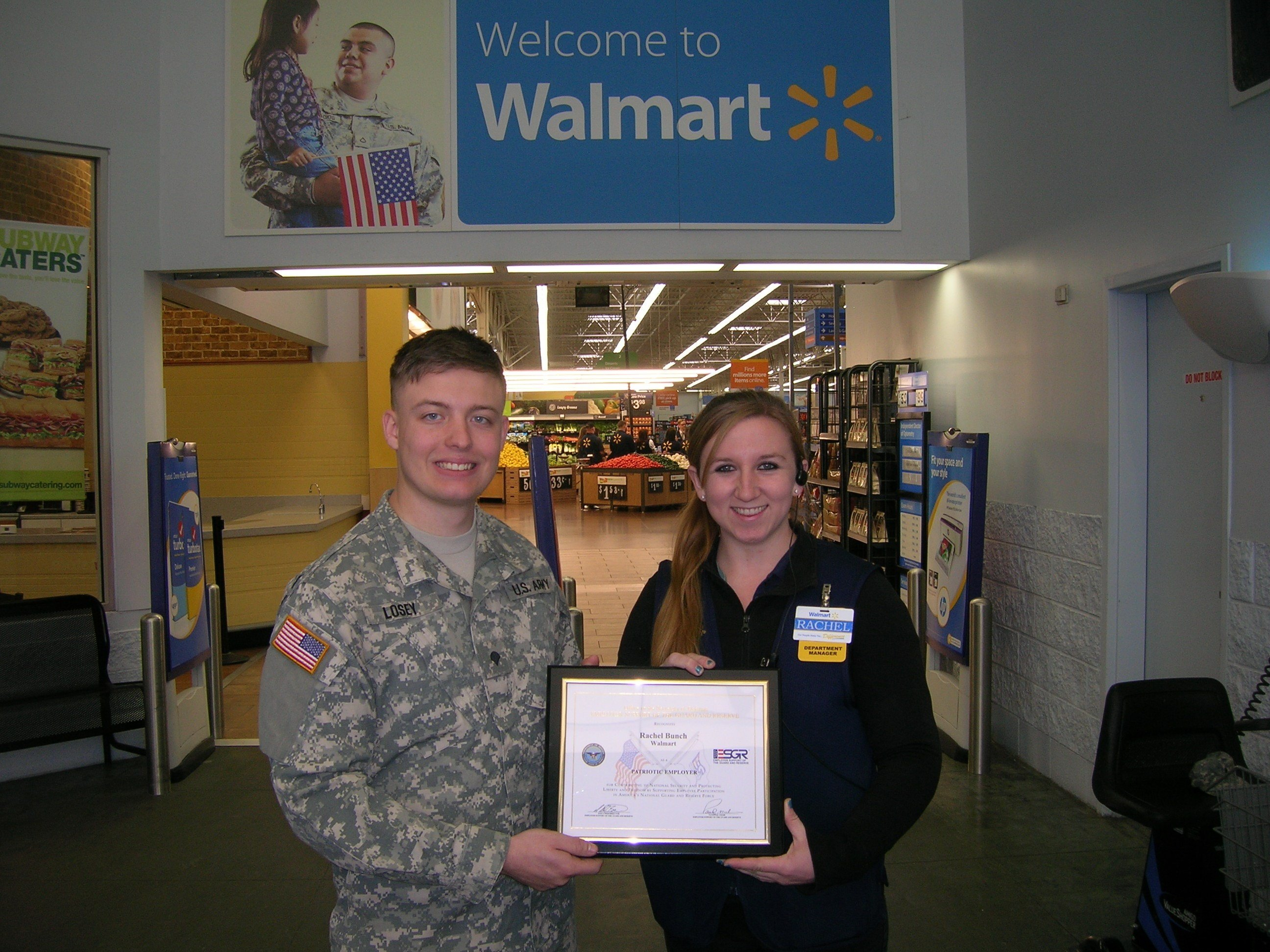 Photo Caption (L to R): SPC Kody Losey, nominator, Rachel Bunch, Patriot Award Recipient