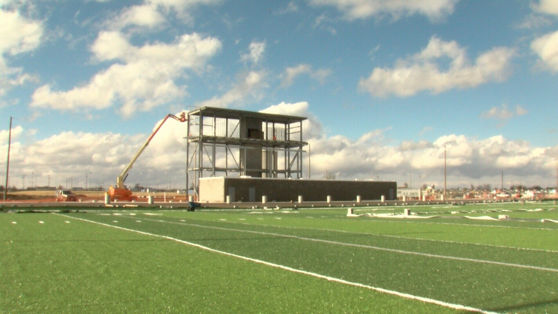 Home stand and press box.  Construction is ongoing for both.