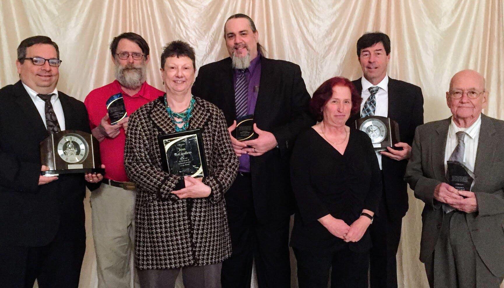 Employee Service Awards L-R:  Mark Mikel, Jonathan Tower, Jean McCandless, Mark Gardner, Susan Lynch, Tom Schibi, Don Erskin.  (Not Pictured: Jack Flynn)