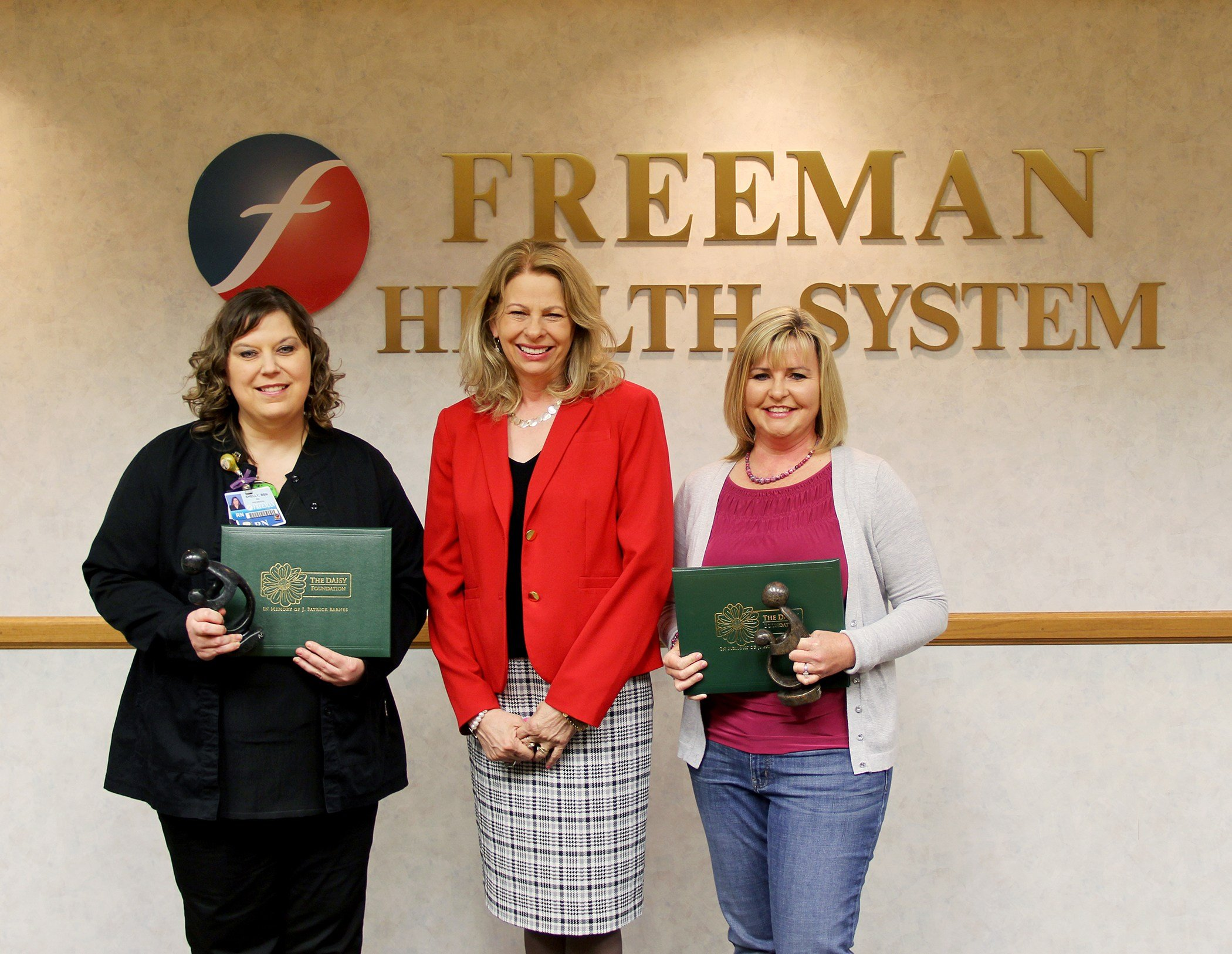 (left to right) Shelly Shoemaker, RN, Freeman Medical/oncology; Paula F. Baker, Freeman President and Chief Executive Officer; and Stacy Pryor, RN, Freeman Emergency Department