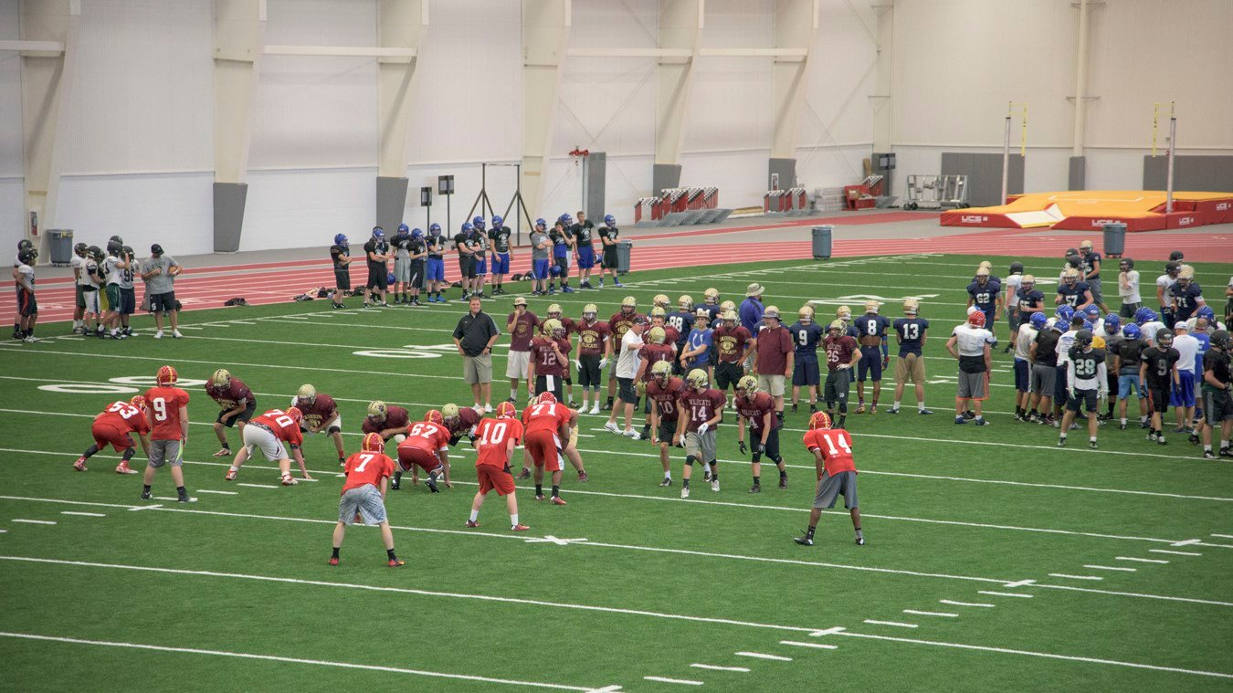 High School teams in the 2016 Football Team Camp practice in the Robert W. Plaster Center at Pittsburg State University.
