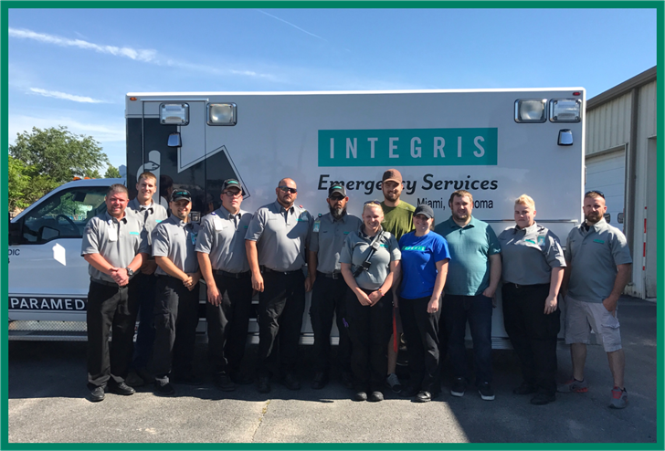 Members of INTEGRIS Miami Emergency Services were recently recognized for providing quality care to their patients, particularly those suffering from heart attack, Pictured above (left to right) are Clint Epperson, Matt Walker, Kade Witten, Cory Humble, K
