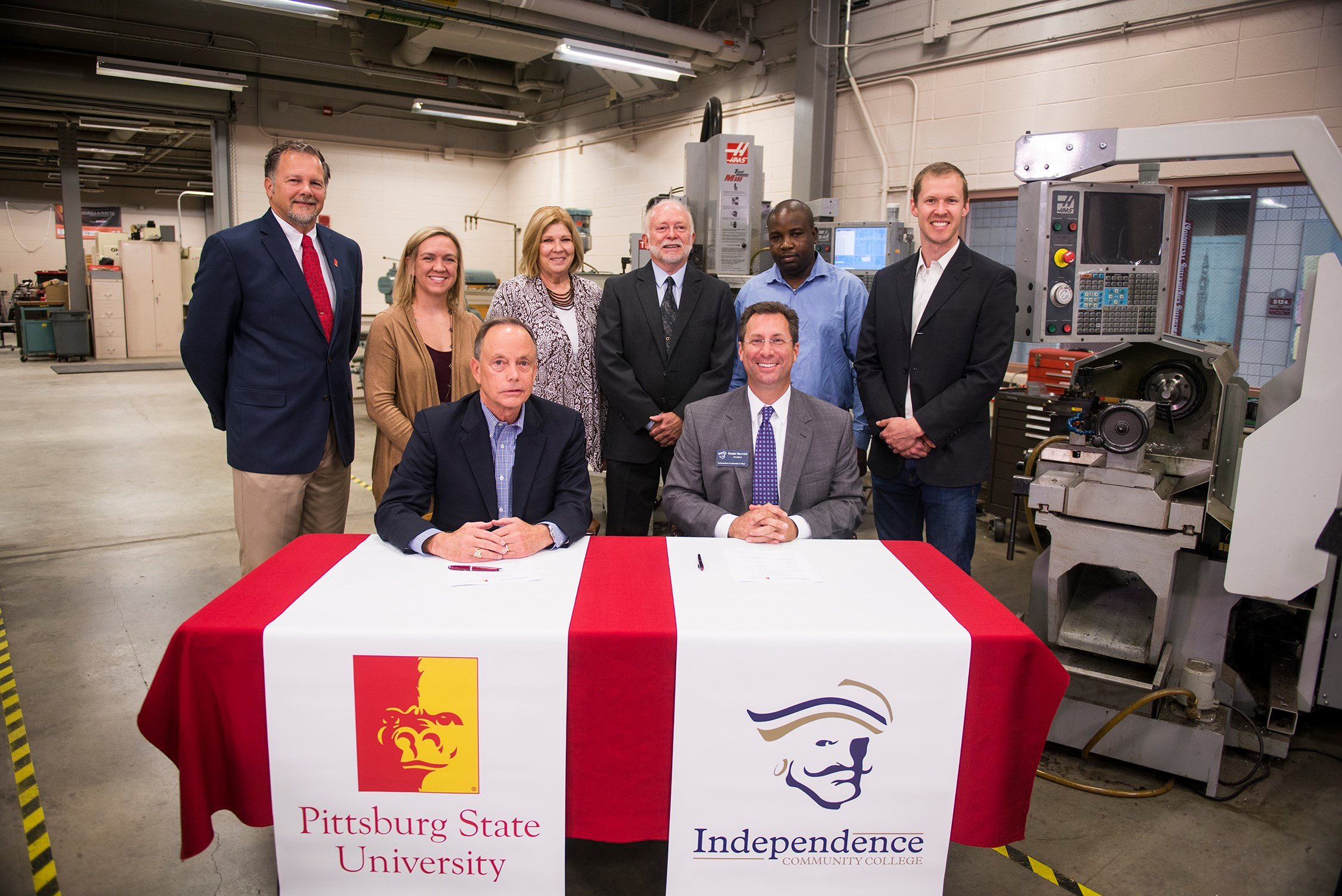 Leadership from Pittsburg State University and Independence Community College gather after the signing of an articulation agreement on Tuesday morning at the Kansas Technology Center.