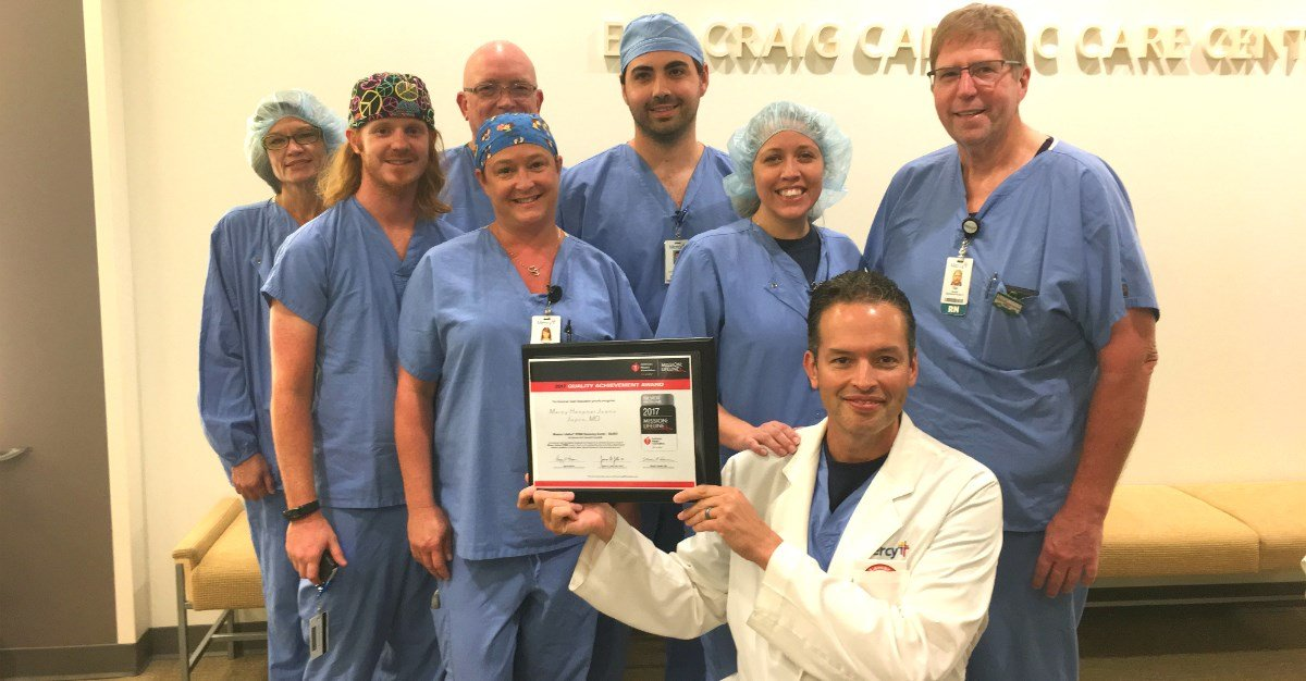 Dr. Jose De Hoyas and several members of the cardiology team represent just some of the co-workers who helped Mercy Hospital Joplin receive the American Heart Association's Mission:Lifeline Silver Receiving Quality Achievement Award.
