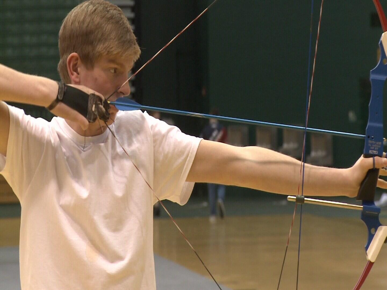 Trenton Myers shooting his bow