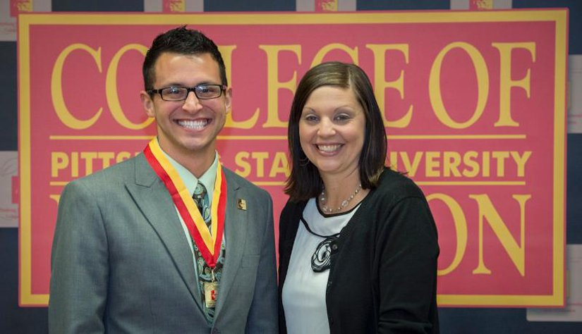 New teacher-to-be, Ryan Pittsenbarger, with his cooperating teacher, Alicia Shorter. (Photo courtesy of Pittsburg State University)