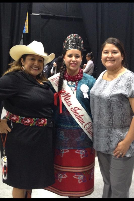 (From left) Claudia Little Axe, AICE cultural specialist, Robynn Rulo, Miss Indian Oklahoma,and Hannah Berryman, AICE student liaison. (Photo courtesy of NEO)