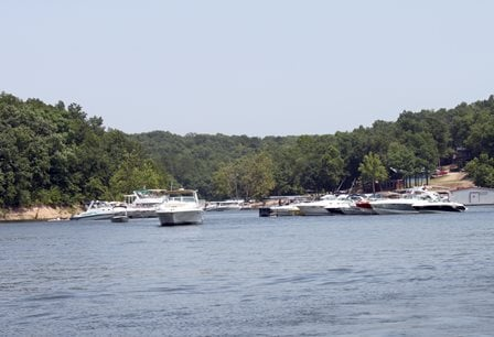 "This shot, from July 3, 2012, shows boats gathering on Grand Lake during one of the most popular boating times of the year, the days surrounding the July 4 Holiday. The GRDA Police is encouraging all lake visitors to ""boat safe, boat smart and boat sober"""