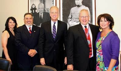 Pictured left to right: Georjean Perez, Juan Perez, Senator Jerry Moran, Scott Sheldon, and Michelle Sheldon.