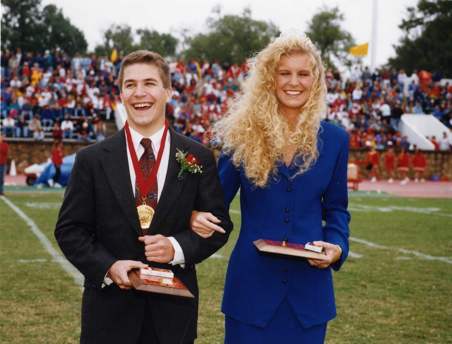 Mac Braun (with Queen Heather Gentry) was crowned the university's first Homecoming King in 1994. He will join other past kings and queens on campus this weekend for Homecoming 2013.