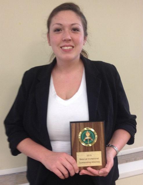 "MSSU sophomore Laurna Alumbaugh of Duenweg received the ""Top Attorney"" Award."