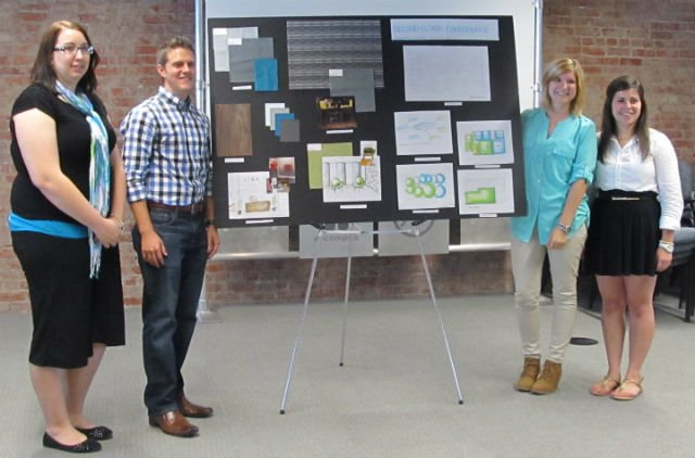 Lynsey Sholders, far left, and Cassandra Stanley, third from left, with their team members from Kansas State University, present their winning design project.