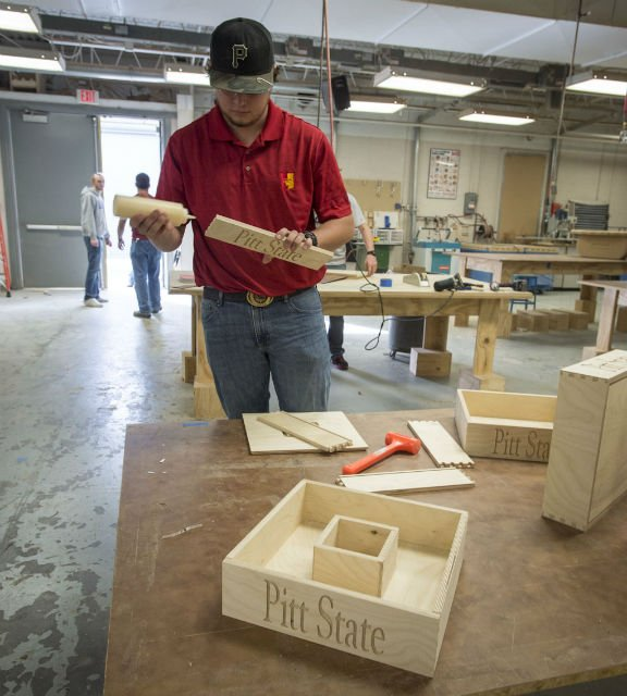 David Jirrels, a junior from Chandler, Ariz., works on a project in PSU's wood technology lab.