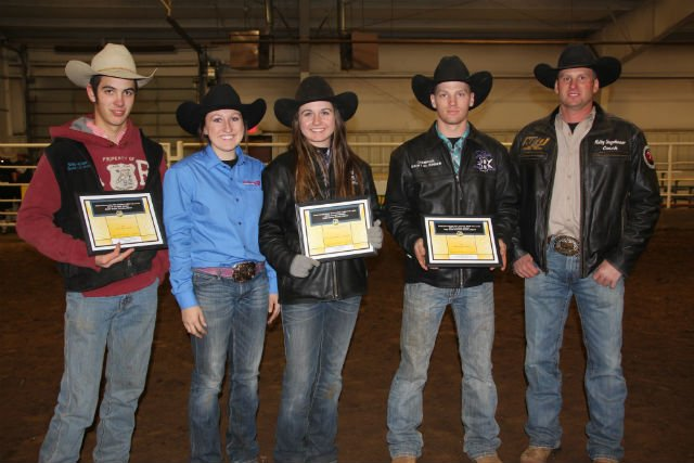 Shay Walters – Collinsville, Okla., Kirbie Crouse – Gallatin, Mo., Paige Wiseman – Paola, Kan., Quinton Inman – Ketchum, Okla., and NEO Rodeo Coach Kolby Ungeheuer