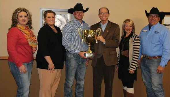 (from left) B.J. Mooney, Miss Rodeo Miami coordinator, Amanda Davis, CVB executive director, Kolby Ungeheuer, NEO rodeo coach, Dr. Jeff Hale, NEO president, Dr. Shannon Cunningham, dept. chair of agriculture, and Bob Carder, event chairman