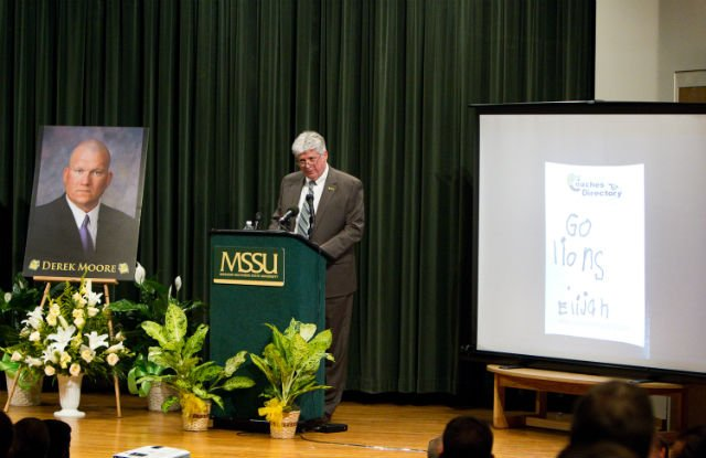 Interim President Alan Marble speaks about Derek Moore. (Photo courtesy of MSSU)