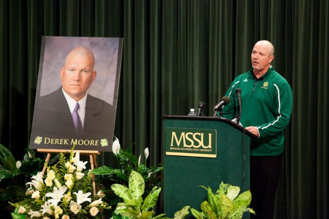 Head Coach Daryl Daye speaks about Derek Moore. (Photo courtesy of MSSU)