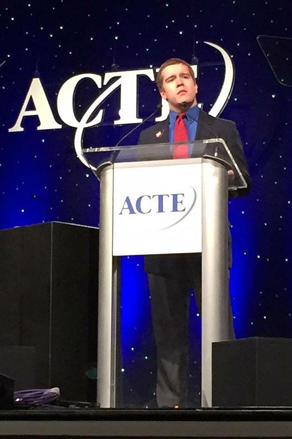Steven Stokes giving his speech on Thursday in Nashville, TN.