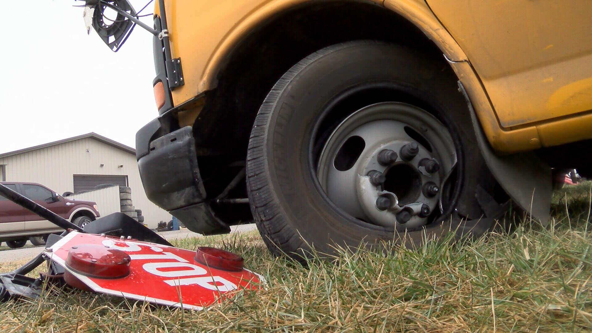 Damaged school bus