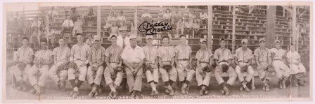 This photo shows the Baxter Springs Whiz Kids in 1948. Mickey Mantle is pictured 8th from the left (beneath his signature). Photo courtesy: KansasMemory.org