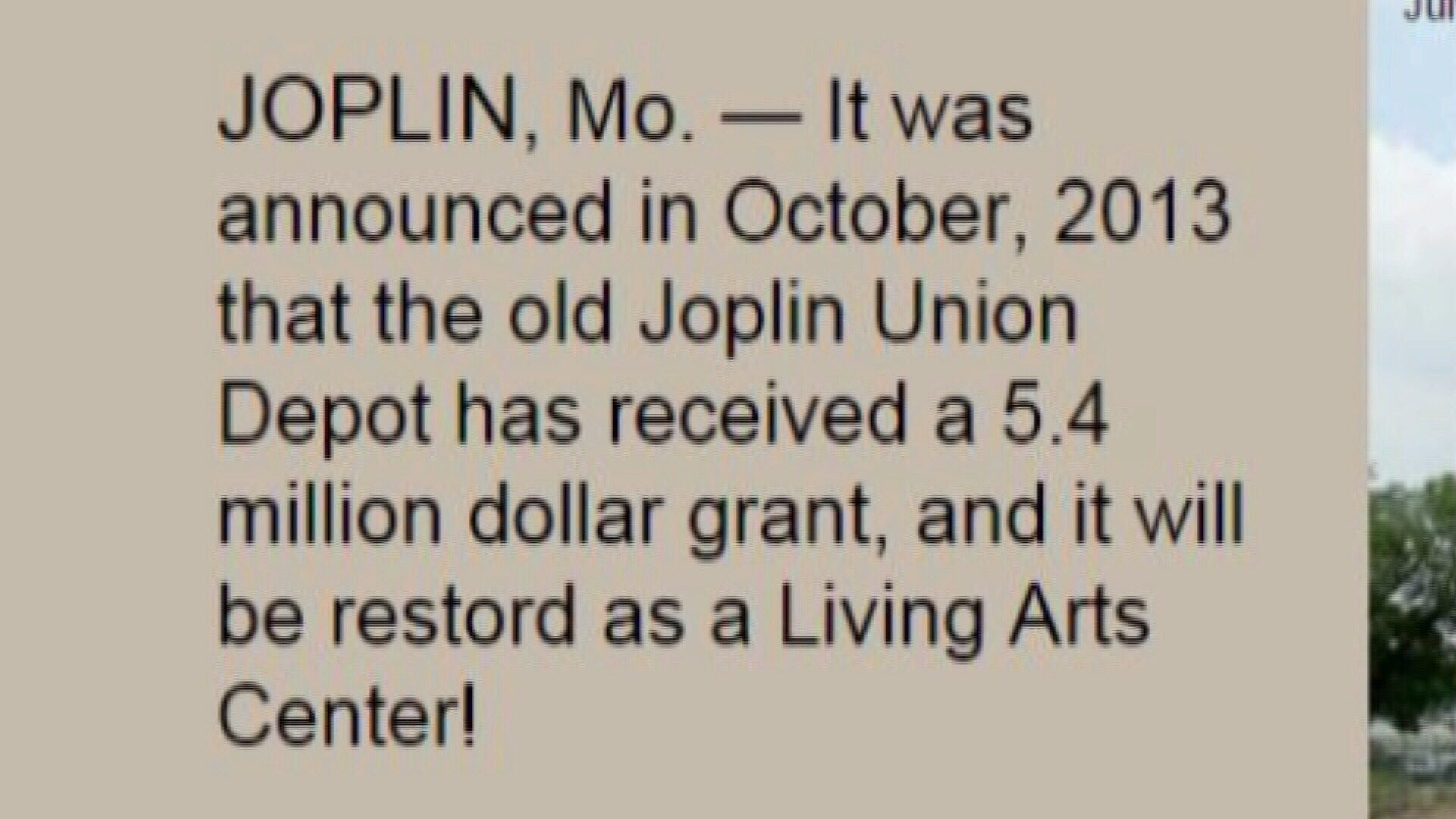 An online publication that said grant money had been awarded for depot renovations