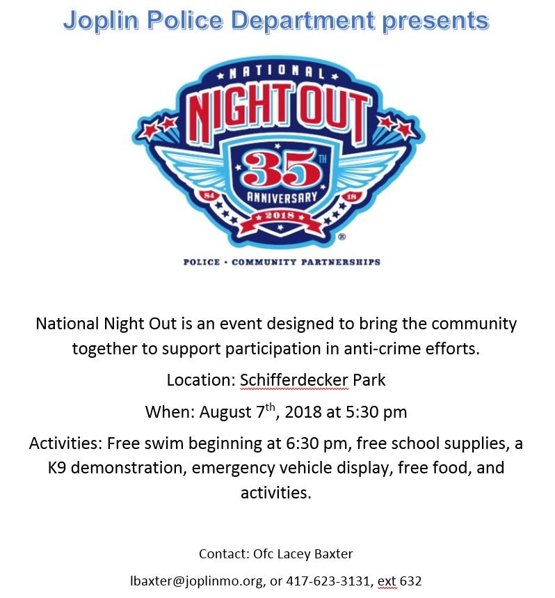 35th National Night Out - August 7 - FOX 14 TV Joplin and Pittsburg ...