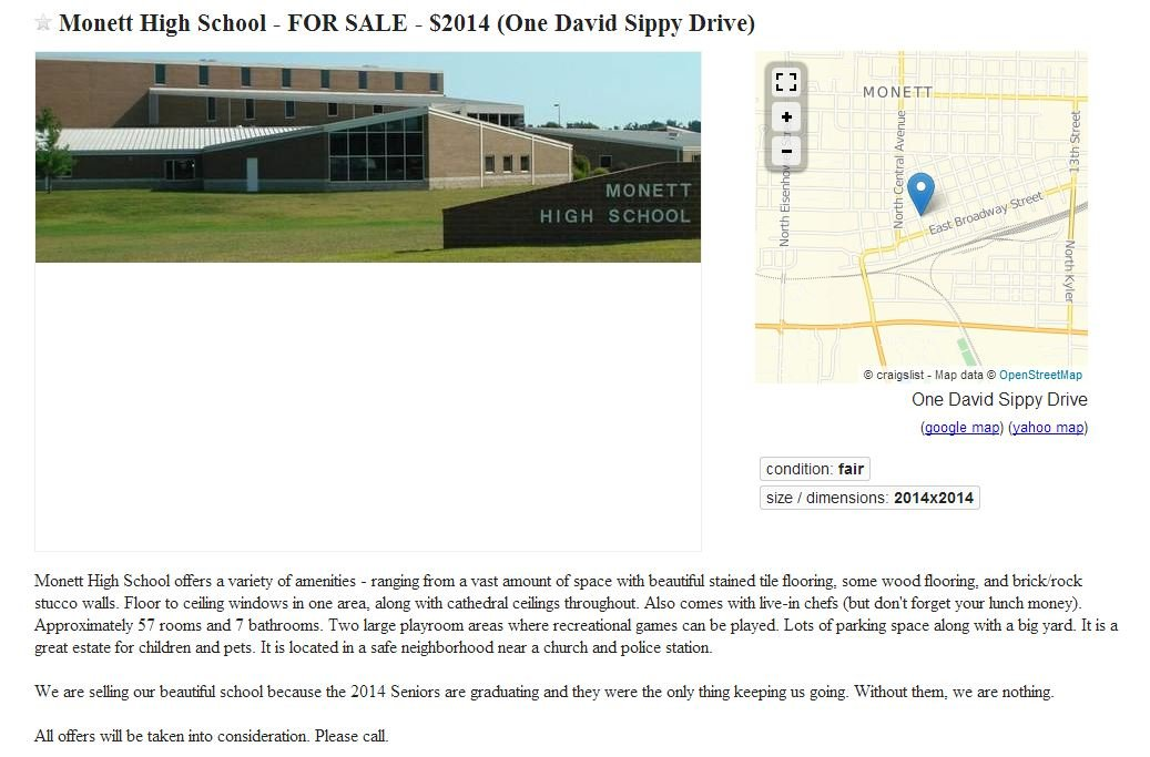Monett High School is for sale - according to a prank by ...