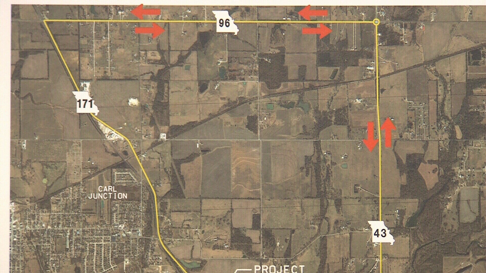 Complete detour route; northbound on Highway 43, westbound on Highway 96.  Center Creek bridge, not pictured on this map, is south on Highway 171 past Carl Junction