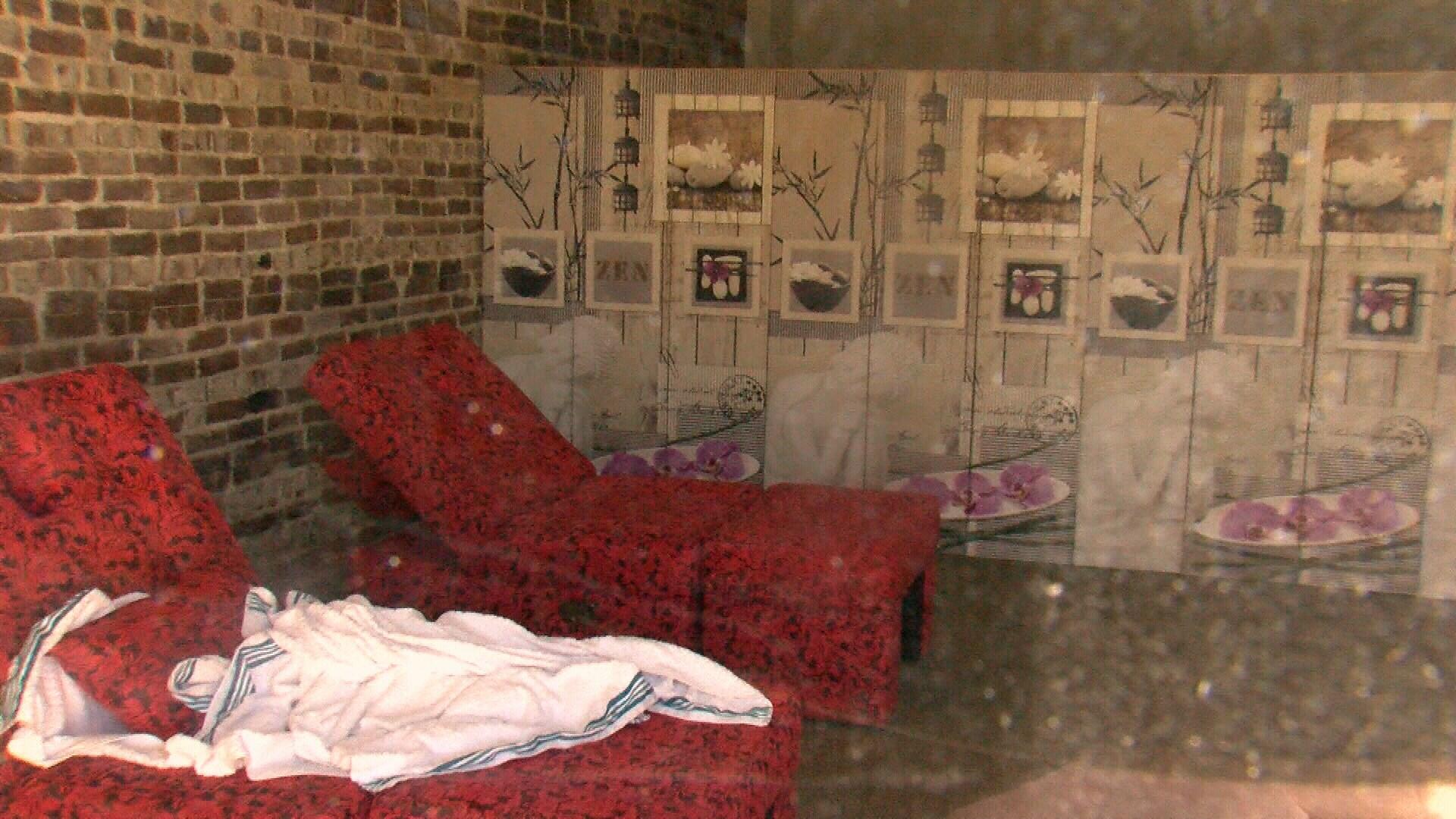 Looking through window of Royal Massage