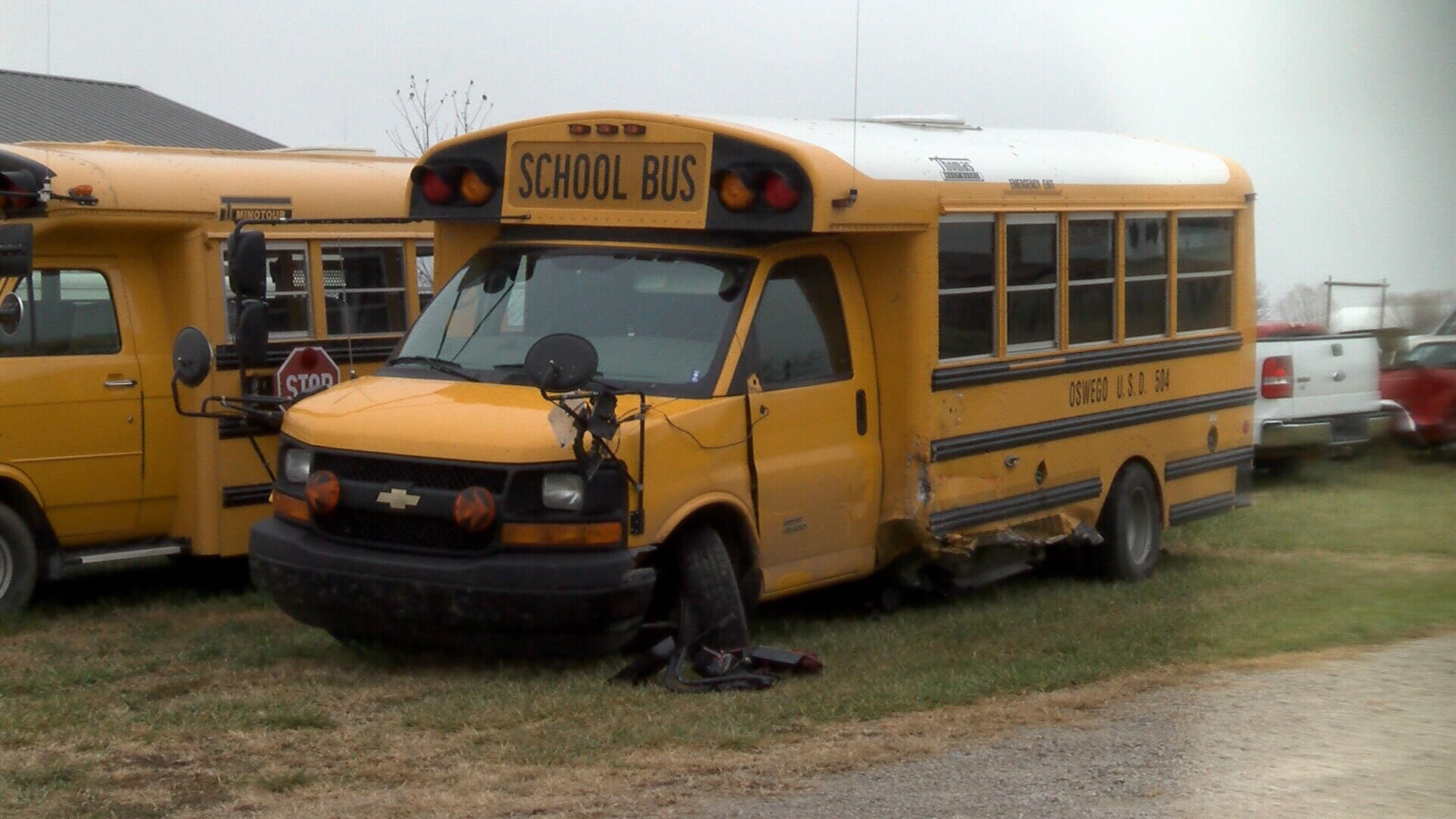Damaged school bus