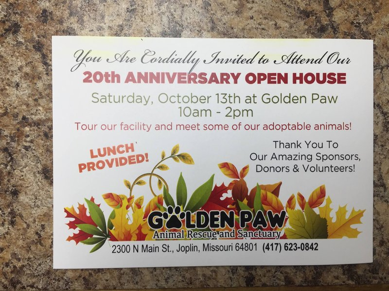 Golden Paw 20th Anniversary Open House October 13